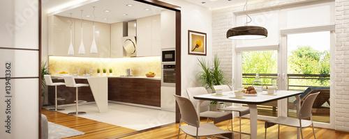 Fototapeta Modern kitchen in a big house obraz