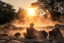 Morning Fog Over Hot Spring At...