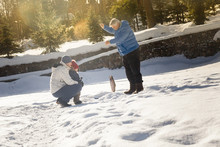 Dad, Son And Grandfather Fishing. Winter. Outdoor.