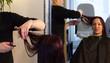 hairdresser, look in the mirror, cut, cut their hair