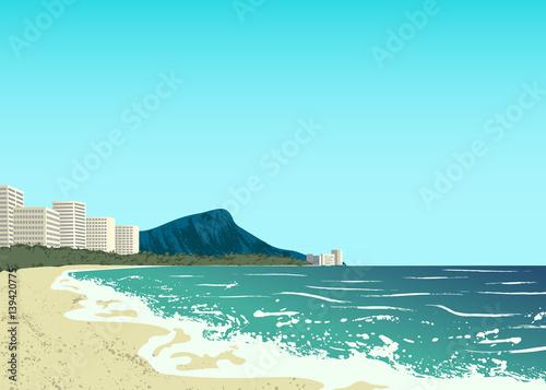 Printed kitchen splashbacks Light blue Waikiki beach of Oahu island