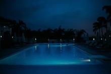Swimming Pool In Night Illumination Tropical Island