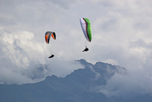 Paragliders In The French Alps