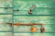 Close-up On Old Green Wooden Door