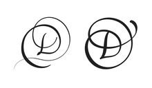 Art Calligraphy Letter D With Flourish Of Vintage Decorative Whorls. Vector Illustration EPS10