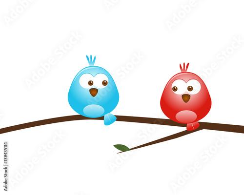 niebieski-i-czerwony-ptak-na-galazce-na-bialym-tle
