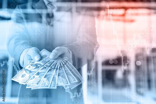 Businessman With Money In Hand Us Dollar Usd Bills Investment Success