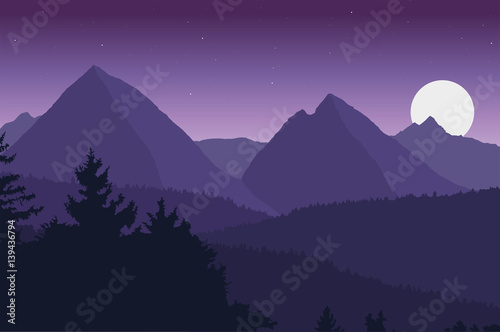Fotobehang Aubergine View of the mountain landscape with its forests and hills under a purple sky with moon and stars - vector