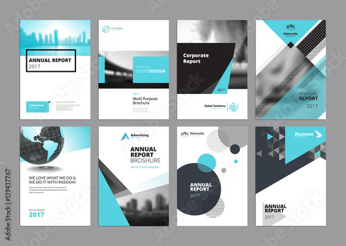 set of modern business paper design templates vector illustrations