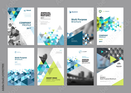 Fototapeta Set of modern business paper design templates. Vector illustrations of brochure covers, annual reports, flyer design layouts, business presentations, ads and magazine, business stationary collection. obraz