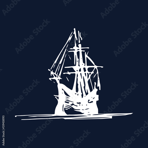 Photo Sailing galleon ship in the ocean in ink line style