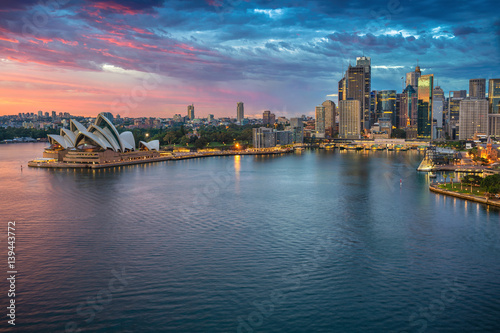 Wall Murals Sydney City of Sydney. Cityscape image of Sydney, Australia during sunrise.
