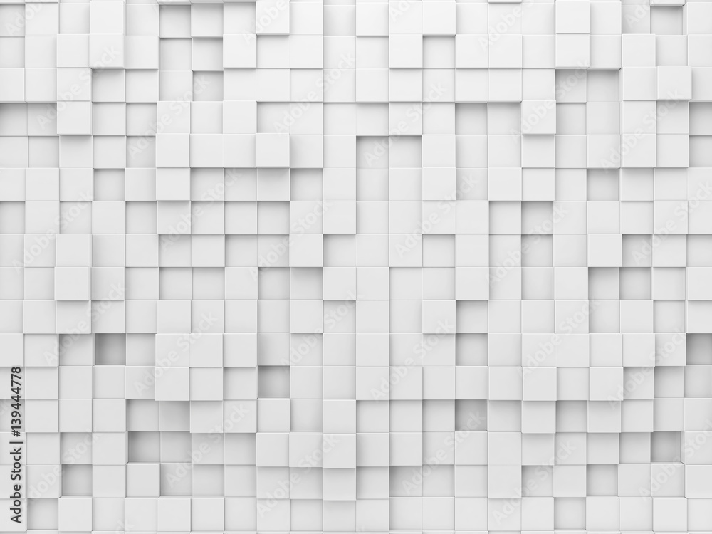 White geometric abstract background with array of cubes.