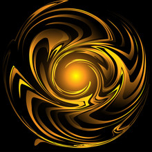 Abstract Vector Illustration, Twisted Spiral Swirls. Deformed Curls In Gold Yellow Colors On Black Background.