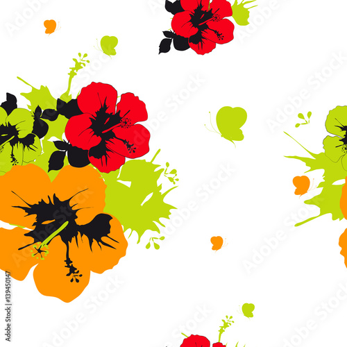 Recess Fitting Graphic Prints beautiful red flowers ,pattern , on a white