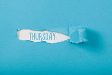 Thursday, English Weekday Message On Paper Torn Ripped Opening
