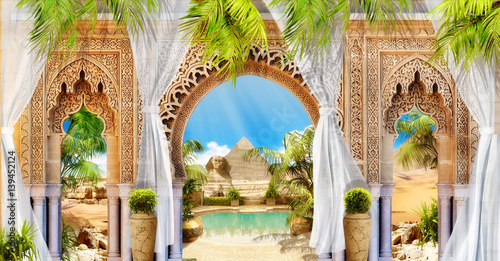Digital fresco. Arch and pyramide. Canvas Print