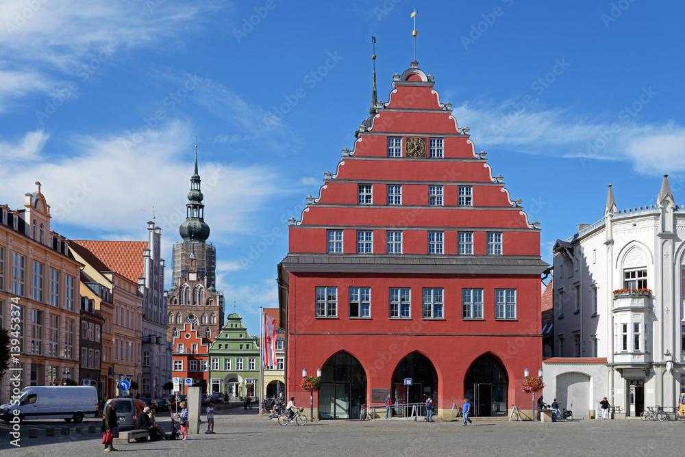 Fototapety, obrazy: Markt, Rathaus und Dom von Greifswald