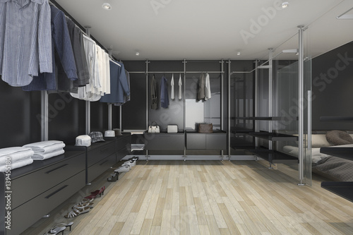 Fototapeta 3d rendering loft dark walk in closet and living room obraz na płótnie