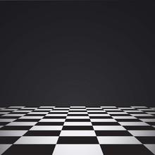 Chess Floor On A Dark Background