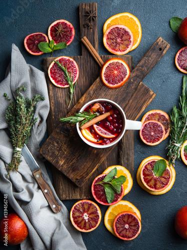 Fototapeta Mulled wine with slice of orange obraz na płótnie
