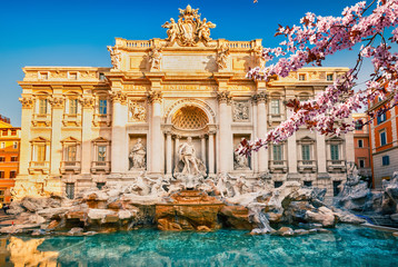 Fototapeta Rzym Fountain di Trevi in Rome at spring, Italy