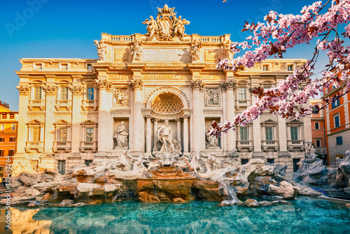 Poster Rome Fountain di Trevi in Rome at spring, Italy