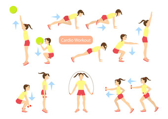 Fototapeta na wymiar Exercises for kids set. Workout for girls. Cardio exercises with weights, jumping rope and ball. Healthy lifestyle for children.