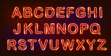 Neon Alphabet Set On Black Background. Decoration For Night Club Or Ad.