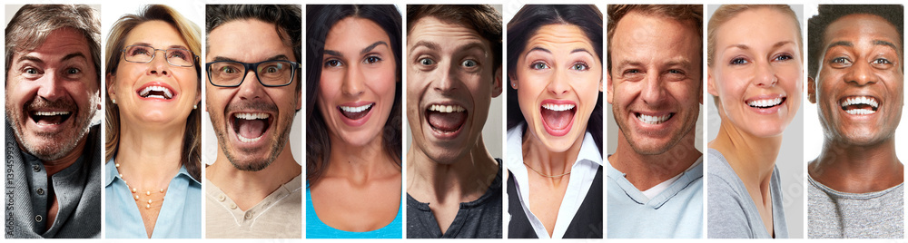 Fototapety, obrazy: Happy people face set