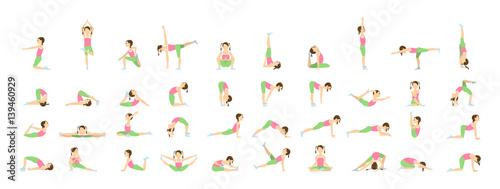 Fototapeta Yoga for kids. Isolated poses and asanas for children on white background. obraz