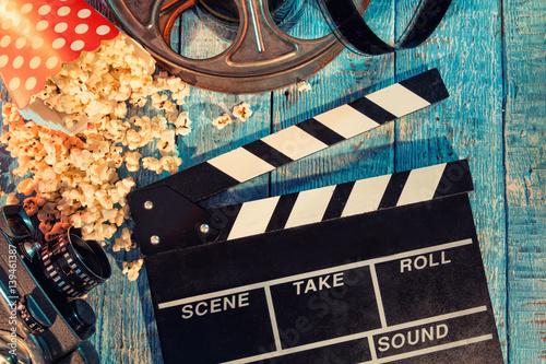 Photo  Film camera chalkboard , roll and popcorn