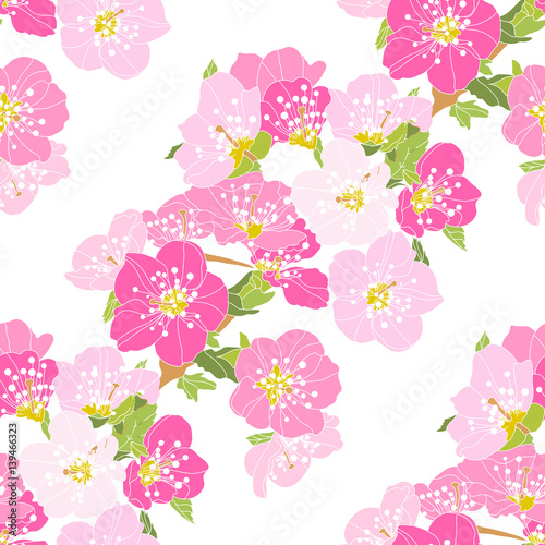 Cotton fabric floral seamless pattern