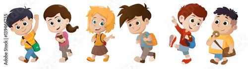 kid waking to school.back to school. - 139466755