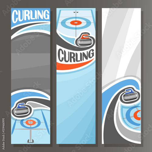 Valokuvatapetti Vector Vertical Banners for Curling: 3 cartoon template for title text on curling theme, on ice rink granite rock, stone sliding in target, abstract vertical banner for inscription on grey background
