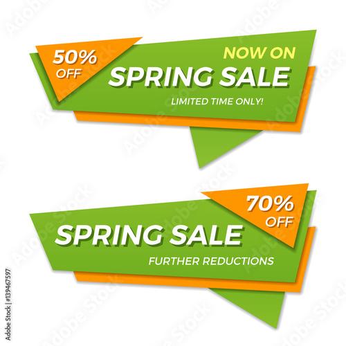 Spring sale label price tag banner badge template sticker design