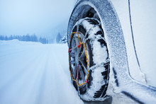 Car With Snow Chains For Tire ...