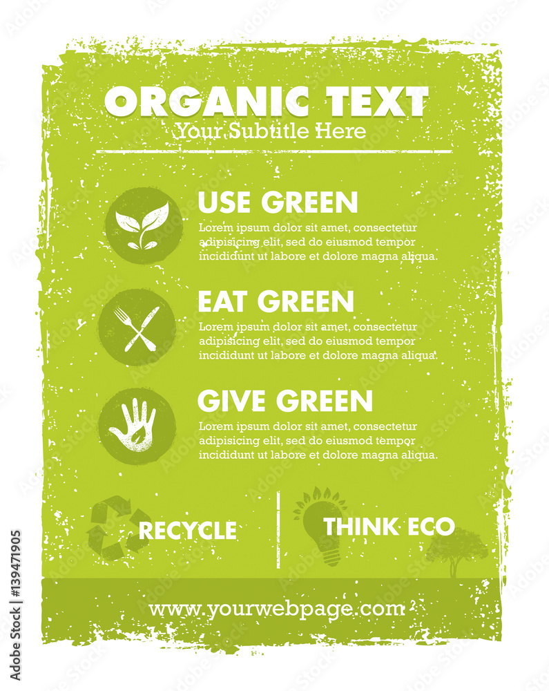 Fototapety, obrazy: Organic Eco Green Vector Banner Background and Icons. Creative Nature Friendly Concept