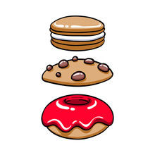 Colorful Baked Sweets Icons Set.