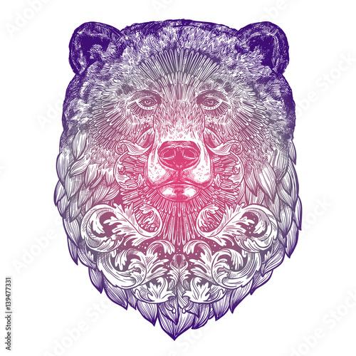 ozdobne-lilac-tattoo-bear-head-bardzo-szczegolowe-streszczenie-recznie-rysowane