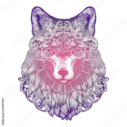 ozdobne-lilac-tattoo-fox-head-bardzo-szczegolowe-streszczenie-recznie-rysowane
