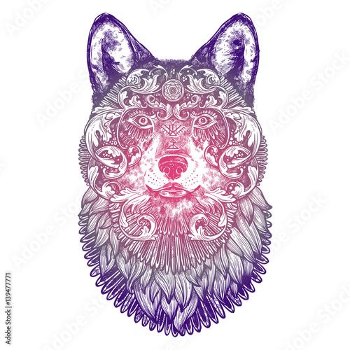 ozdobne-lilac-tattoo-wolf-head-bardzo-szczegolowe-streszczenie-recznie-rysowane