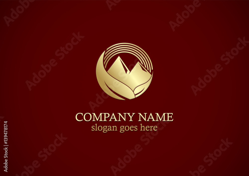 gold leaf mountain nature logo