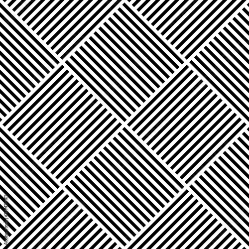 vector abstract geometric seamless pattern weaving textile fabric with black and white crossed straight lines