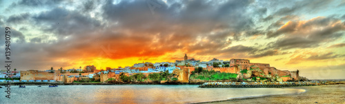Poster de jardin Maroc Sunset above Rabat and the Bou Regreg river, Morocco