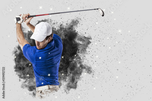Poster Golf Golf Player coming out of a blast of smoke