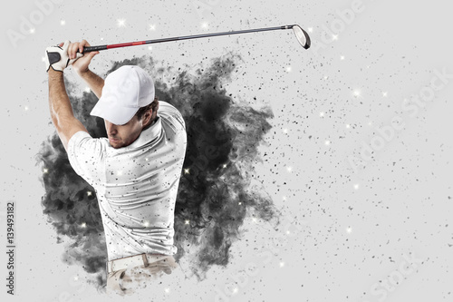 Aluminium Prints Golf Golf Player coming out of a blast of smoke