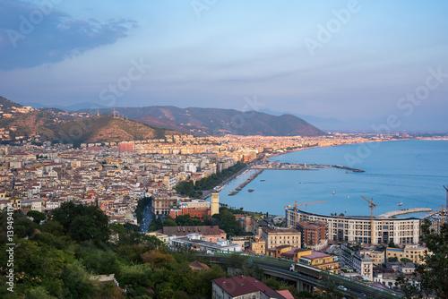Obraz na płótnie Aerial view of Salerno at sunset