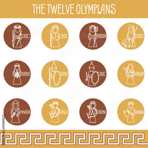 Photo  The Twelve Olympians icons set
