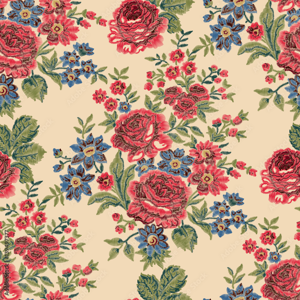 Seamless embroidered floral pattern. Luxurious roses, vintage colors on beige background.